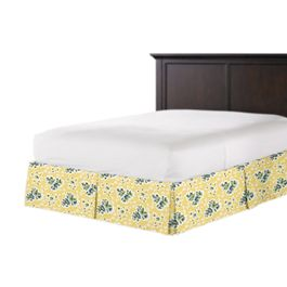 Yellow & Green Leaf Bed Skirt with Pleats