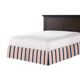 Coral & Blue Stripe Bed Skirt with Pleats