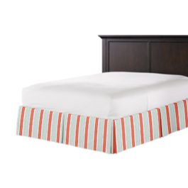 Aqua & Coral Pink Stripe Bed Skirt with Pleats
