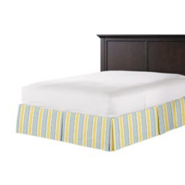 Teal & Yellow Stripe Bed Skirt with Pleats