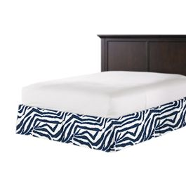 Blue Zebra Print Bed Skirt with Pleats