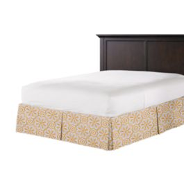 Gold Flower Medallion Bed Skirt with Pleats