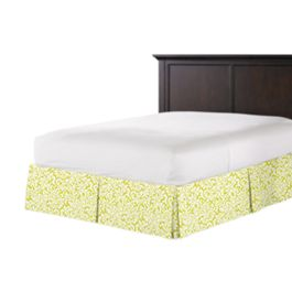 Lemon Yellow Brocade Bed Skirt with Pleats