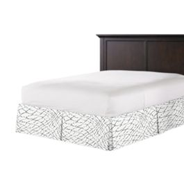 Gray & White Net Bed Skirt with Pleats