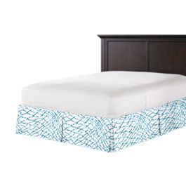Teal & White Net Bed Skirt with Pleats