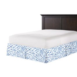 Blue & White Net Bed Skirt with Pleats