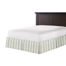 Embroidered Aqua Stripe Bed Skirt with Pleats