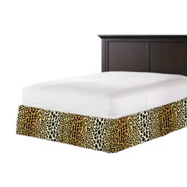Velvet Leopard Print Bed Skirt with Pleats