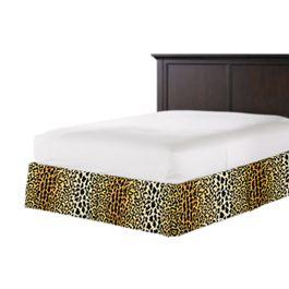 Velvet Leopard Print Bed Skirt with Pleats