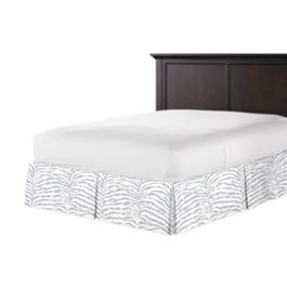 Light Gray Zebra Print Bed Skirt with Pleats