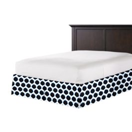 Black & Blue Dot Bed Skirt with Pleats