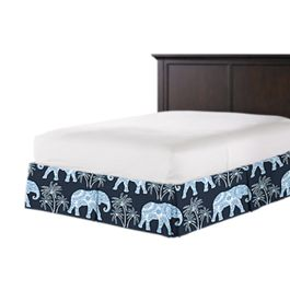 Navy Blue Elephant Bed Skirt with Pleats