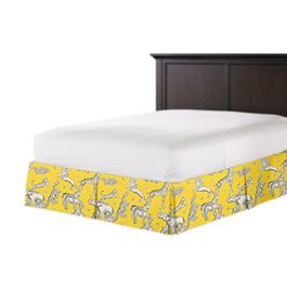 Yellow & Gray Zoo Animal Bed Skirt with Pleats