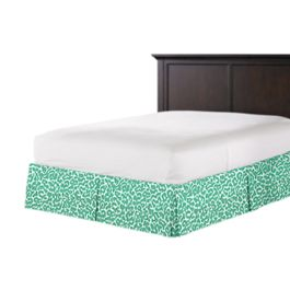 Bright Green Leopard Print Bed Skirt with Pleats