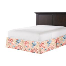 Coral & Blue Floral Bed Skirt with Pleats