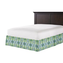 Green & Blue Ikat Bed Skirt with Pleats
