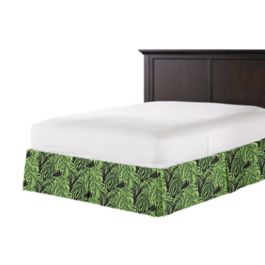 Green & Black Palm Leaf Bed Skirt with Pleats