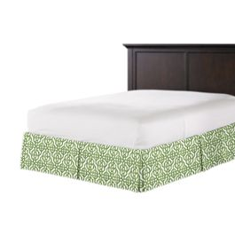 Green Watercolor Trellis Bed Skirt with Pleats