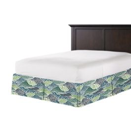 Green Hillside Floral Bed Skirt with Pleats
