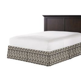 Tan & Black Tribal Print Bed Skirt with Pleats