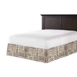 Taupe Tribal Bed Skirt with Pleats
