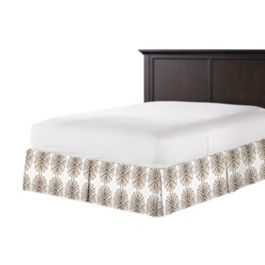 White & Tan Spiky Oval Bed Skirt with Pleats