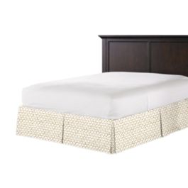 Beige Mudcloth Bed Skirt with Pleats