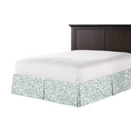 Modern Light Blue Floral Bed Skirt with Pleats