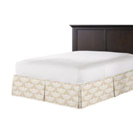 Natural & White Bird Bed Skirt with Pleats