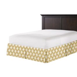 Ivory & Metallic Gold Fan Bed Skirt with Pleats