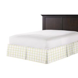 Lemon Yellow Check Bed Skirt with Pleats