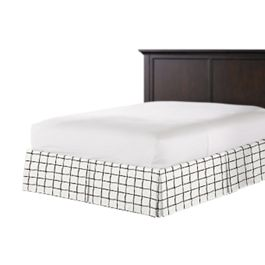 Black & White Check Bed Skirt with Pleats
