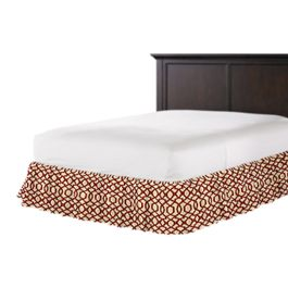 Flocked Tan & Red Trellis Ruffle Bed Skirt