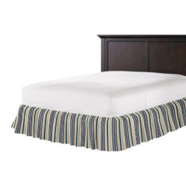 Gray, Teal & Blue Stripe Ruffle Bed Skirt