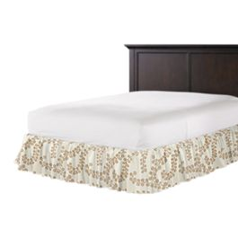 Gold Metallic Swirl Ruffle Bed Skirt