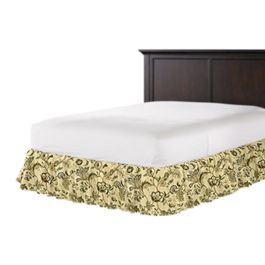 Jacobean Beige Floral Ruffle Bed Skirt