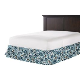 Beige & Blue Suzani Ruffle Bed Skirt