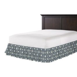 Blue Moroccan Mosaic Ruffle Bed Skirt