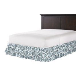 Turquoise Trellis Scroll Ruffle Bed Skirt