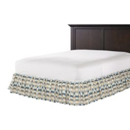 Tan & Blue Flame Stitch Ruffle Bed Skirt