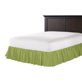 Grass Green Slubby Linen Ruffle Bed Skirt