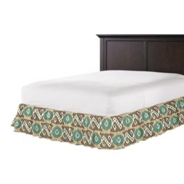 Handwoven Tan & Teal Ikat Ruffle Bed Skirt