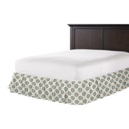 Blue Medallion Block Print Ruffle Bed Skirt