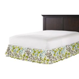 Aqua Blue Watercolor Floral Ruffle Bed Skirt