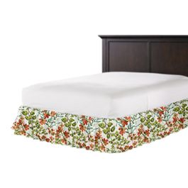 Coral Watercolor Floral Ruffle Bed Skirt