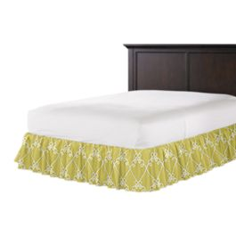 Embroidered Green Scroll Ruffle Bed Skirt