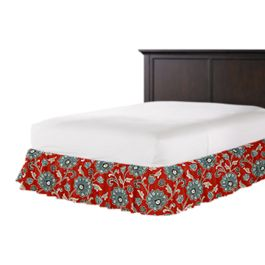 Aqua & Red Floral Ruffle Bed Skirt
