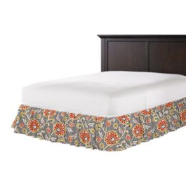 Coral & Gray Floral Ruffle Bed Skirt