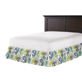 Aqua, Blue & Green Ikat Ruffle Bed Skirt