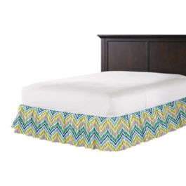 Gray, Green & Blue Chevron Ruffle Bed Skirt